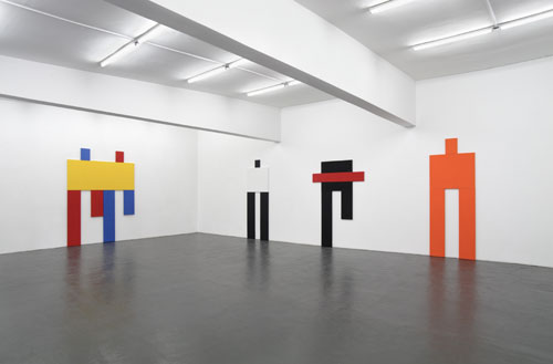 Joe Bradley. Installation view, Peres Projects, 2007. From left: Cavalry, 2007; Itz, 2007; Night Runner with Strike, 2007; The Thing, 2007.