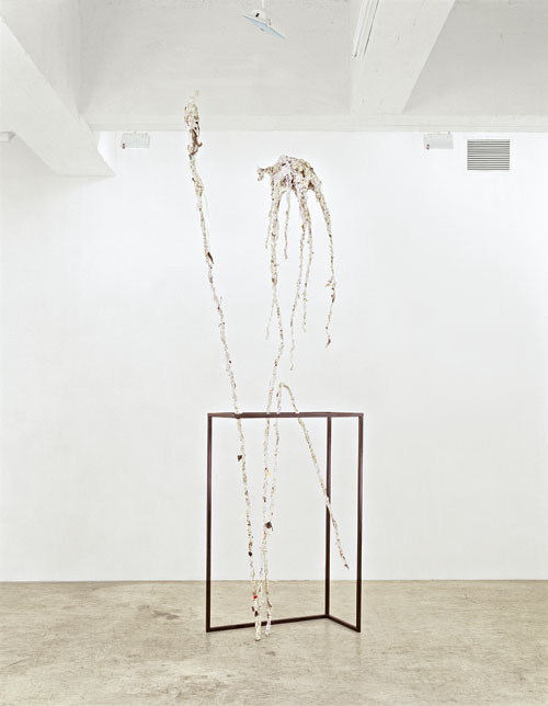 Charles Long,.Untitled, 2006. Papier-mâché, plaster, steel, synthetic polymer, river sediment, and debris, 144 x 72 x 7 in (365.8 x 182.9 x 17.8 cm). Collection of the artist. Courtesy Tanya Bonakdar Gallery, New York.