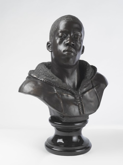 Kehinde Wiley. Houdon Paul-Louis, 2011. Bronze with polished stone base, 34 x 26 x 19 in (86.4 x 66 x 48.3 cm). Brooklyn Museum; Frank L. Babbott Fund and A. Augustus Healy Fund, 2012.51. © Kehinde Wiley. (Photograph: Sarah DeSantis, Brooklyn Museum).