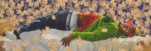 Kehinde Wiley. Femme piquèe par un serpent, 2008. Oil on canvas, 102 x 300 in (259.1 x 762 cm). Courtesy of Sean Kelly, New York. © Kehinde Wiley.