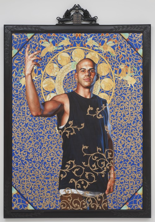 Kehinde Wiley. Leviathan Zodiac, 2011. Oil and gold enamel on canvas, 95 x 71 in (243.2 x 182.2 cm). Collection of Blake Byrne, Los Angeles. © Kehinde Wiley. (Photograph: Robert Wedemeyer, courtesy of Roberts & Tilton, Culver City, California).