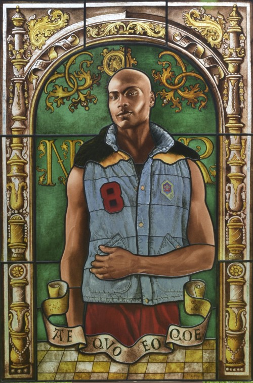 Kehinde Wiley. Arms of Nicolas Ruterius, Bishop of Arras, 2014. Stained glass, 54 x 36 in (137.2 x 92.7 cm). Courtesy of Galerie Daniel Templon, Paris. © Kehinde Wiley.