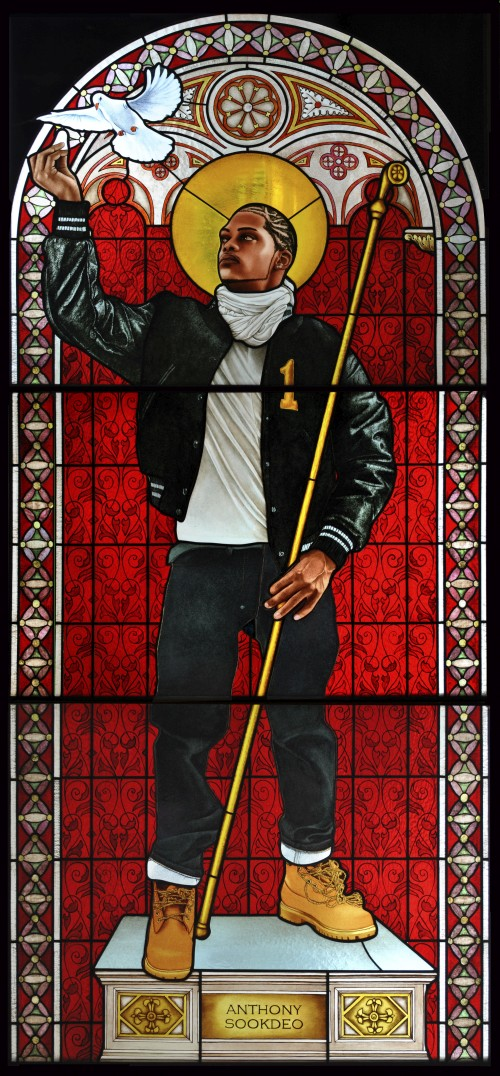 Kehinde Wiley. Saint Remi, 2014. Stained glass, 96 x 43 in (243.8 x 110.5 cm). Courtesy of Galerie Daniel Templon, Paris. © Kehinde Wiley.