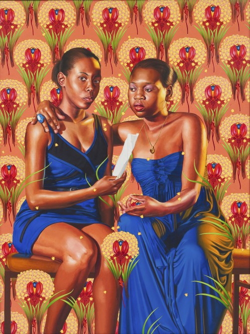 Kehinde Wiley. The Sisters Zènaôde and Charlotte Bonaparte, 2014. Oil on linen, 83 x 63 in (212 x 160 cm). Collection of Nathan Serphos and Glenn Guevarra, New York. © Kehinde Wiley. (Photograph: Robert Wedemeyer, courtesy of Roberts & Tilton, Culver City, California).