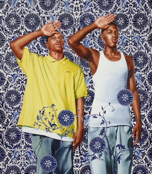 Kehinde Wiley. Two Heroic Sisters of the Grassland, 2011. Oil on canvas, 96 x 84 in (243.8 x 213.4 cm). Hort Family Collection. © Kehinde Wiley. Photograph: Max Yawney.