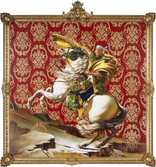 Kehinde Wiley. Napoleon Leading the Army over the Alps, 2005. Oil on canvas, 108 x 108 in (274.3 x 274.3 cm). Collection of Suzi and Andrew B. Cohen. © Kehinde Wiley. Photograph: Sarah DiSantis, Brooklyn Museum.