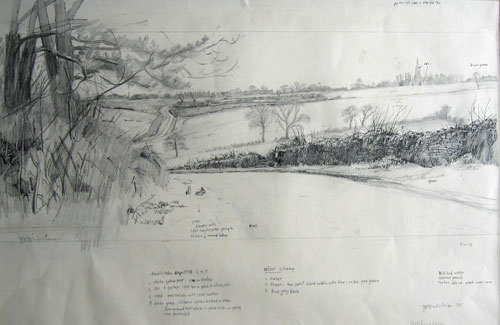 Joseph Winkelman. Hatching Lane, Leafield. Sketch, 20 x 50 cm. © the artist.