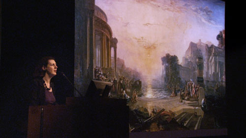 JMW Turner. The Decline of the Carthaginian Empire, exhibited 1817 (lecture). National Gallery film still, courtesy of Zipporah Films Inc.