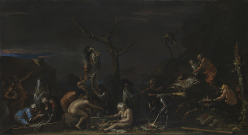Salvator Rosa (1615–73). Witches at their Incantations (Scene of Witchcraft) c. 1646. Oil on canvas, 72.5 x 132.5 cm. © National Gallery, London.