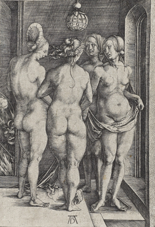 Albrecht Dürer. The Four Witches (Bartsch No. 75 (89)). Engraving on paper 19 x 13.1 cm. © National Galleries of Scotland.