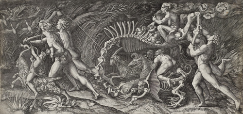 Agostino Veneziano; after Raphael (Rafaello Santi). The Witches Rout (The Carcass). Engraving on paper 30.7 x 64.8 cm. © National Galleries of Scotland.