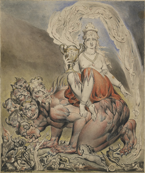 William Blake. The Whore of Babylon, 1809. Pen and black ink and watercolours, 26.6 x 22.3 cm. © The Trustees of the British Museum.