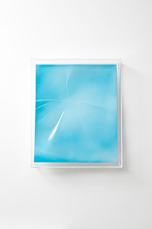 Wolfgang Tillmans. <em>Lighter, blue concave I,</em> 2008. Unique C-type print in Plexiglass hood, 64