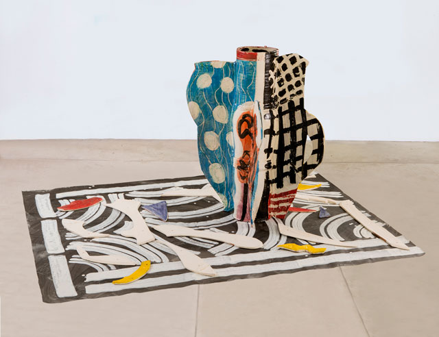 Betty Woodman. Aztec Vase and Carpet #2, 2012. Glazed earthenware, epoxy resin, lacquer, paint, canvas, 151 x 124 x 86 cm approx. 