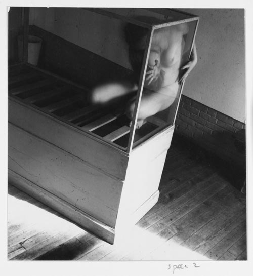 Francesca Woodman, Space2, Providence, Rhode Island, 1975-1976. Gelatin silver estate print 25.4 x 20.3 cms, 10 x 8 inches. Courtesy George and Betty Woodman and Victoria Miro, London