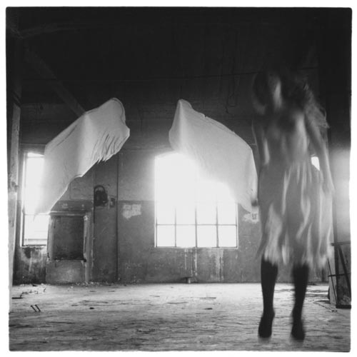 Francesca Woodman, From Angel Series, Rome, 1977-1978. Gelatin silver estate print 25.4 x 20.3 cms, 10 x 8 inches. Courtesy George and Betty Woodman and Victoria Miro, London