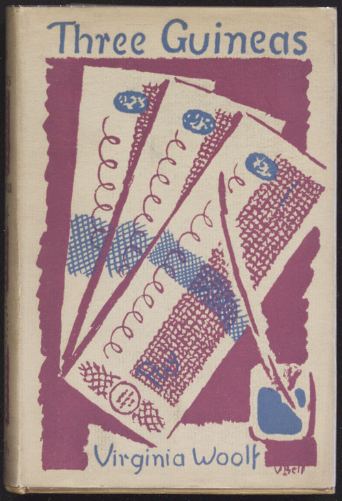 Three Guineas by Virginia Woolf, Hogarth Press, 1938. Cover design by Vanessa Bell. © Estate of Vanessa Bell, courtesy of Henrietta Garnett. Image: Victoria University Library.