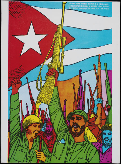 1959 1969 Décimo Aniversario del Triunfo de la Rebelión. Cubana (1959 1969 Tenth Anniversary of the Triumph of the Cuban Rebellion). René Mederos, 1969, Cuba. Screenprint. © The Estate of René Mederos/Victoria and Albert Museum, London.