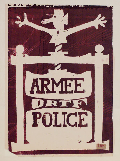 Armée ORTF Police. Artist unknown, 1968, Paris. Screenprint. © Victoria and Albert Museum, London.