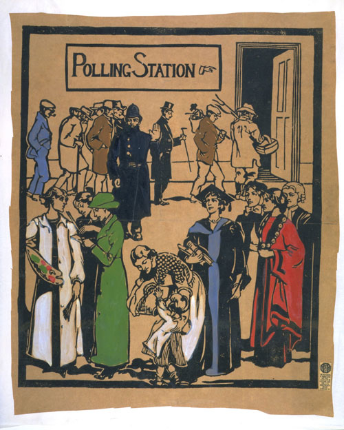 Polling Station. Unknown Artist, 1909-1913, London. © Victoria and Albert Museum, London.