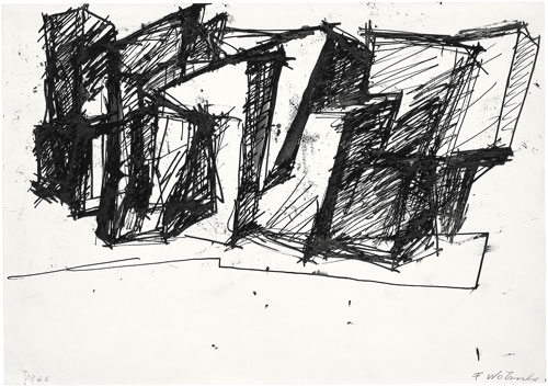 Fritz Wotruba. Sketch to an Architecture, 1966. Paper, quill in black, 34.5 x 49.1 cm. Belvedere Vienna, permanent loan from Fritz Wotruba Privatstiftung. Photograph: Stefan Zeisler, © Fritz Wotruba Privatstiftung.