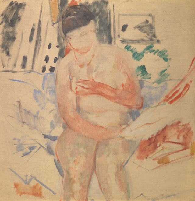 Rik Wouters. Nude seated on the edge of a bed (sketch), 1914. Oil on canvas, 99.5 × 96.5 cm. Brussels, Royal Museums of Fine Arts of Belgium. © Royal Museums of Fine Arts of Belgium, Brussels. Photograph: J. Geleyns - Ro scan.