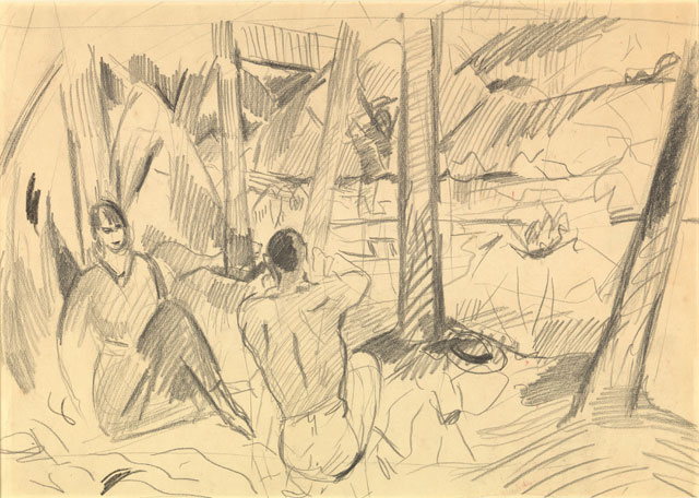 Rik Wouters. Resting under the trees, 1913. Pencil and Conté crayon on Van Gelder paper, 36.6 × 49.4 cm. Brussels, Royal Museums of Fine Arts of Belgium. © Royal Museums of Fine Arts of Belgium, Brussels. Photograph: J. Geleyns - Ro scan.