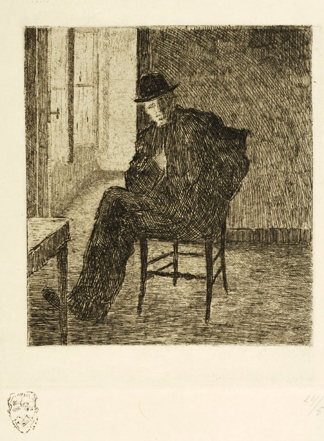 Rik Wouters. Portrait of Rik Wouters seated, undated. Etching, 16.3 × 14.8 cm. Brussels, The Royal Library of Belgium. © Brussels, The Royal Library of Belgium, Printroom.