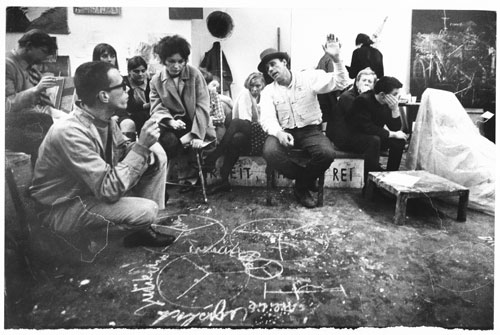 Ute Klophaus. Joseph Beuys' students in Wuppertal discuss the foundation of the German Student Party, 1967 © Ute Klophaus