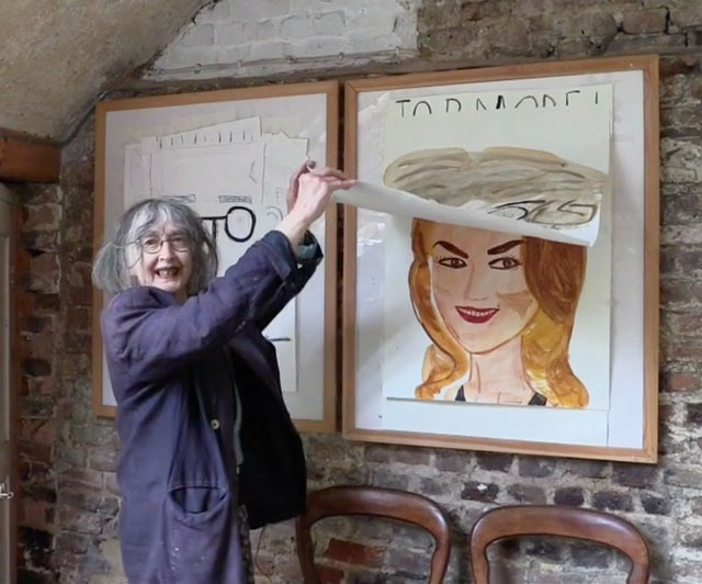 Rose Wylie talking to Studio International in her kitchen, 2014. Photograph: Martin Kennedy.