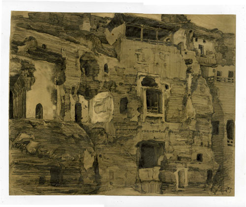 Xu Bing. Buddhist caves, Dunhuang, 1984. Pencil and chalk on paper, 37.4 x 46.6 cm. © Courtesy of Xu Bing Studio.
