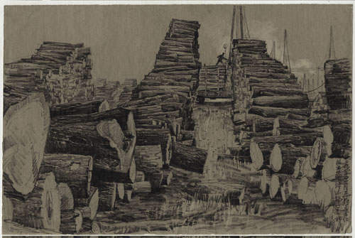Xu Bing. Forestry industry, Changbai, northeast China, June 1979. Inscribed: 七九年六月画于东方红林业局贮 木
