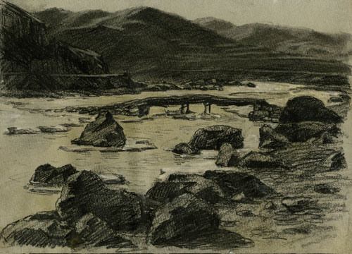 Xu Bing. Landscape, northern Hebei province, 1976. Pencil and crayon on paper, 27.3 x 19.5 cm. © Courtesy of Xu Bing Studio.