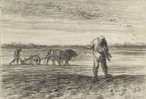 Jean François Millet. Man ploughing and another sowing, 1849–52. Black crayon on off-white paper. © Ashmolean Museum, University of Oxford.