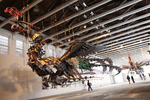 Xu Bing. Phoenix Project, 2008-2010. Installation view at MASS MoCA, Massachusetts, 2012. 27 and 28 metres in length, 8 metres in width, 5 metres in height. Courtesy Xu Bing Studio and MASS MoCA