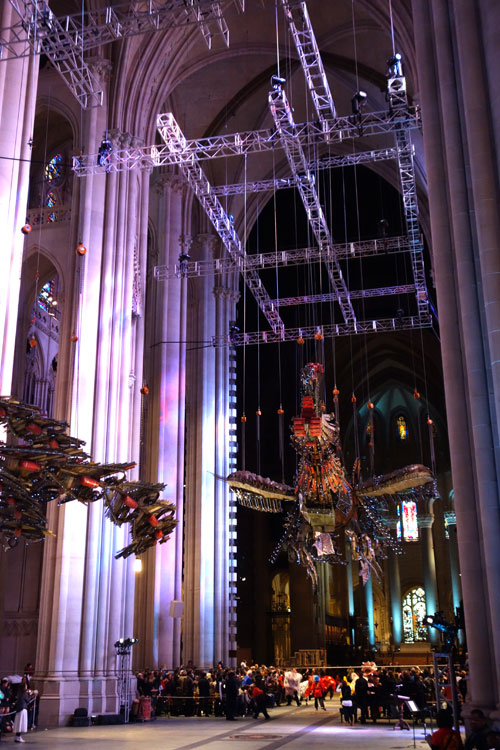 Xu Bing. Phoenix Project, 2008-2010. Installation view (7), Cathedral of St John the Divine, 2014. Photograph: Miguel Benavides.