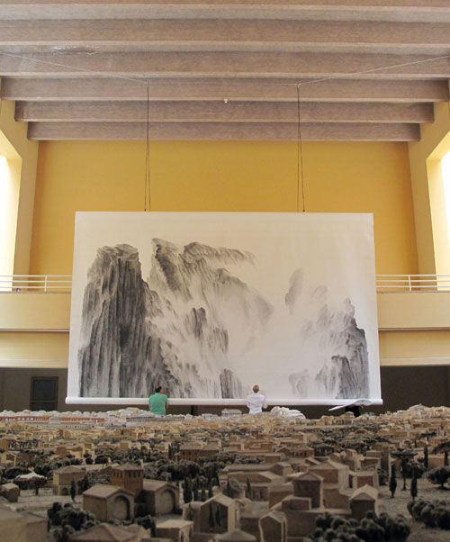 Xu Longsen. On Top of Two Empires, 2011. Gallery views. Museum of Roman Civilization, Rome. Courtesy Beyond Art Space, Beijing.