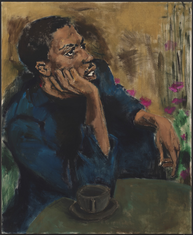 Lynette Yiadom-Boakye, Brothers to a Garden, 2017. Oil on linen. Lent by Lonti Ebers, © Lynette Yiadom-Boakye, courtesy of the artist, Jack Shainman Gallery, New York, and Corvi-Mora, London.