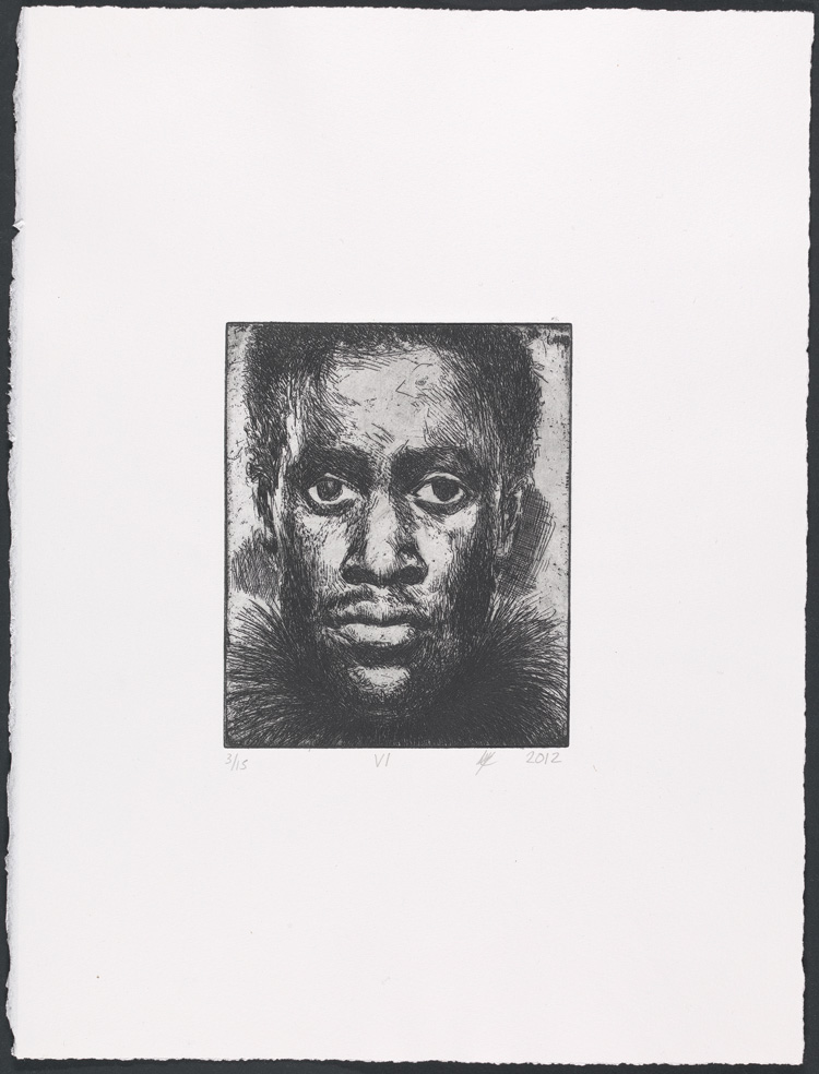 Lynette Yiadom-Boakye, Fly VI, 2012. Etching. Yale Center for British Art, Laura and James Duncan, Yale BA 1975, and Friends of British Art Fund, in honour of Gillian Forrester, © Lynette Yiadom-Boakye, courtesy of the artist, Jack Shainman Gallery, New York, and Corvi-Mora, London.