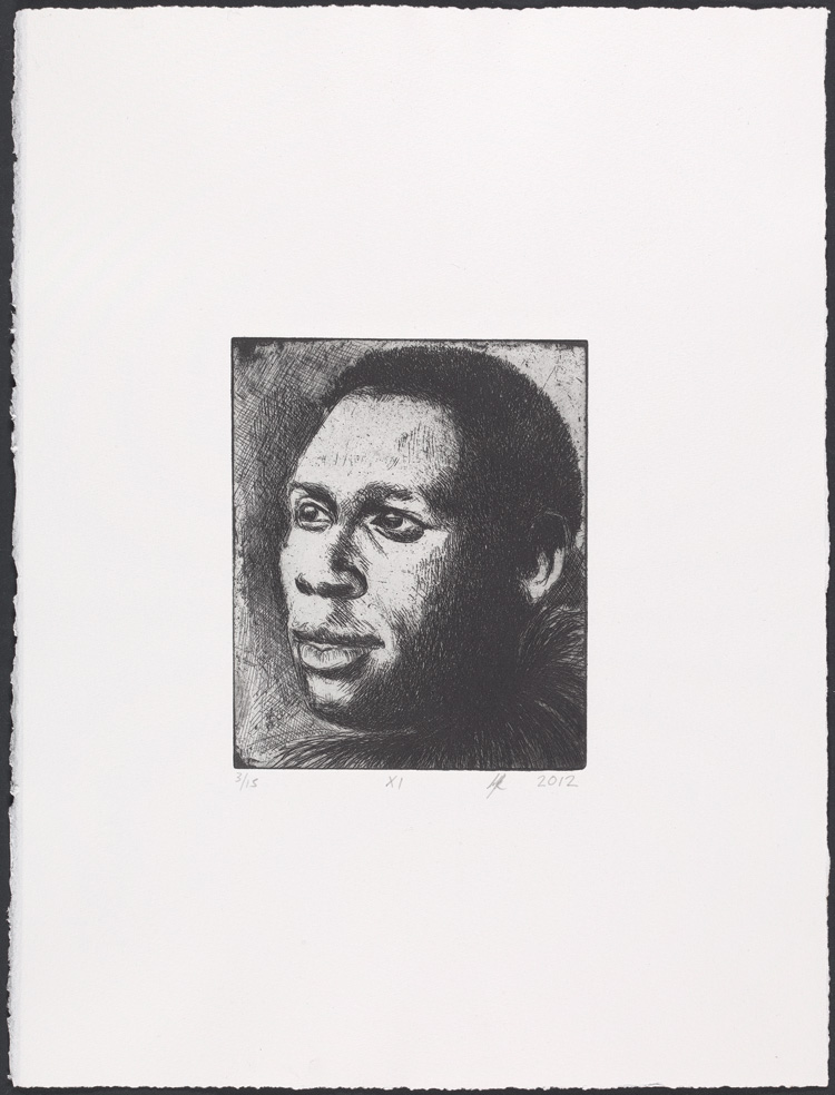 Lynette Yiadom-Boakye, Fly XI, 2012. Etching. Yale Center for British Art, Laura and James Duncan, Yale BA 1975, and Friends of British Art Fund, in honor of Gillian Forrester, © Lynette Yiadom-Boakye, courtesy of the artist, Jack Shainman Gallery, New York, and Corvi-Mora, London.