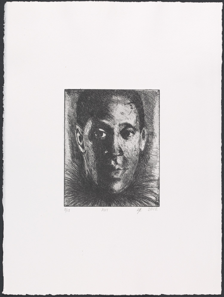 Lynette Yiadom-Boakye, Fly XVI, 2012. Etching. Yale Center for British Art, Laura and James Duncan, Yale BA 1975, and Friends of British Art Fund, in honor of Gillian Forrester, © Lynette Yiadom-Boakye, courtesy of the artist, Jack Shainman Gallery, New York, and Corvi-Mora, London.