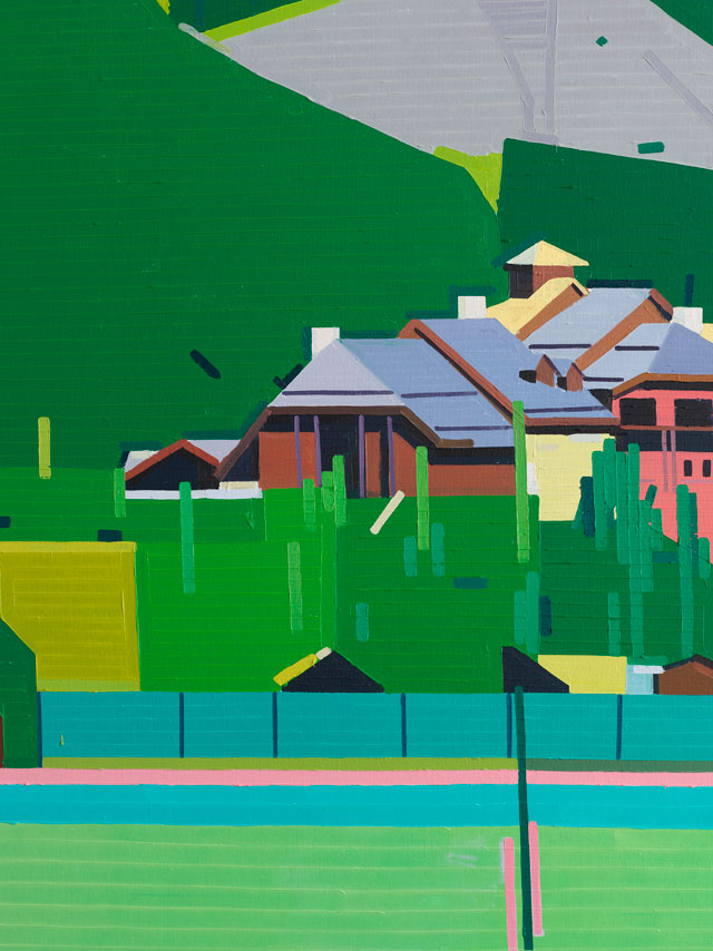 Guy Yanai. Club Med Serre Chevalier (detail), 2017. Oil on linen, 150 x 180 cm.