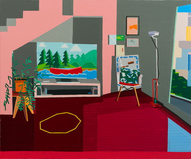 Guy Yanai. Interior With Yellow Hula Hoop / Calm European, 2017. Oil on linen, 150 x 180 cm.