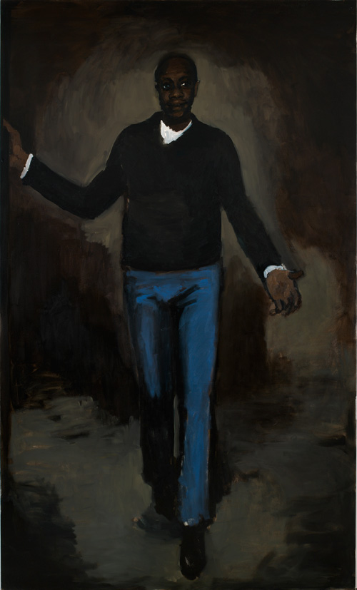 Lynette Yiadom-Boakye. Highriser, 2009. Oil on canvas, 250 x 150 cm. Collection of Michael and Catherina Roets, New York. Courtesy Corv-Mora, London and Jack Shainman Gallery, New York.