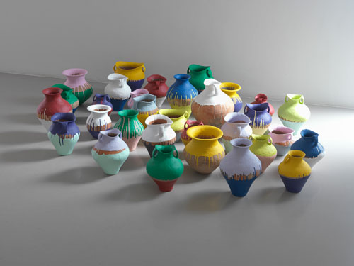 <p>Ai Weiwei. <em>Coloured Vases</em>, 2010. 31 Han Dynasty vases and industrial paint, dimensions variable. Courtesy the artist and Lisson Gallery.