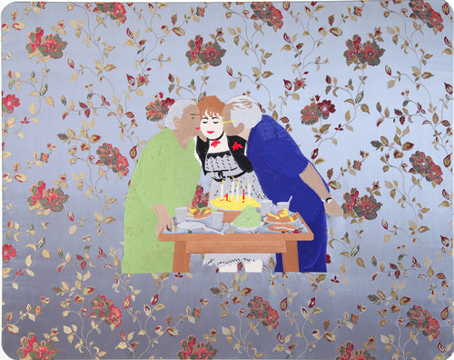 Raed Yassin. Another Birthday (Dancing Smoking Kissing Series), 2013. Silk thread embroidery on embroidered silk cloth, 80 x 100 cm. Kalfayan Galleries. Photograph courtesy of Kalfayan Galleries, Athens, Thessaloniki.