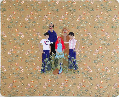 Raed Yassin. Family Portrait With Peacock (Dancing Smoking Kissing Series), 2013. Silk thread embroidery on embroidered silk cloth, 90 x 110 cm. Kalfayan Galleries. Photograph courtesy of Kalfayan Galleries, Athens, Thessaloniki.