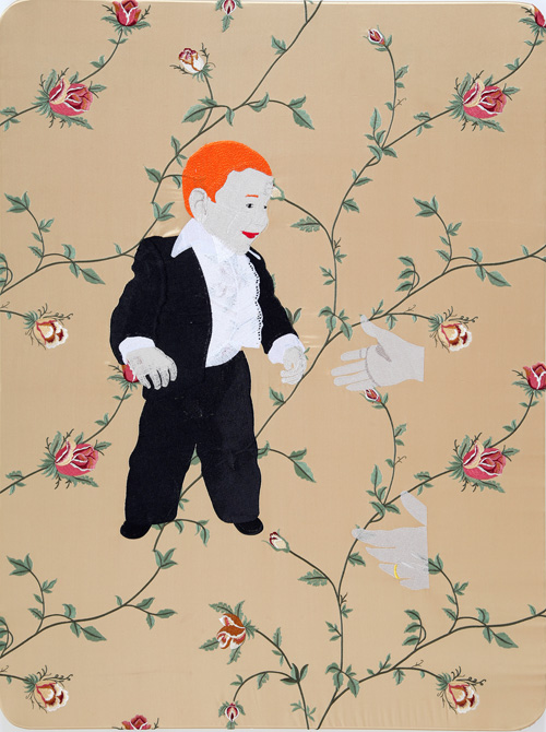 Raed Yassin. Gentleman Raed (Dancing Smoking Kissing Series), 2013. Silk thread embroidery on embroidered silk cloth, 80 x 60 cm. Kalfayan Galleries. Photograph courtesy of Kalfayan Galleries, Athens, Thessaloniki.