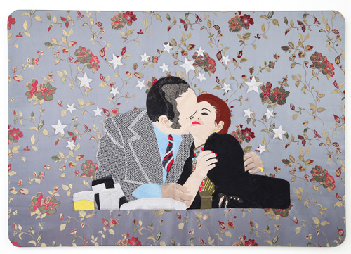 Raed Yassin. Kissing (Dancing Smoking Kissing Series), 2013. Silk thread embroidery on embroidered silk cloth, 70 x 100 cm. Kalfayan Galleries. Photograph courtesy of Kalfayan Galleries, Athens, Thessaloniki.