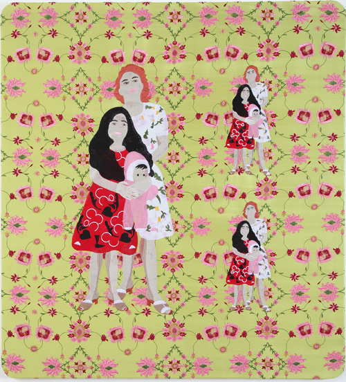 Raed Yassin. Mama Mira And The Doll (Dancing Smoking Kissing Series), 2013. Silk thread embroidery on embroidered silk cloth, 105 x 95 cm. Kalfayan Galleries. Photograph courtesy of Kalfayan Galleries, Athens, Thessaloniki.